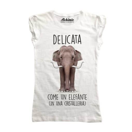 Delicata come un elefante in una cristalleria maglia t-shirt donna