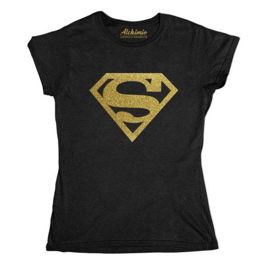supergirl superman maglia t-shirt oro glitter