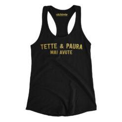 tette e paura mai avute canotta donna t-shirt nero e oro