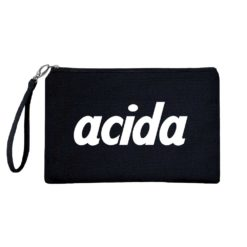 acida nera pochette con iniziali nome personalizzata