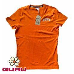 guru maglia uomo arancione con scollo a V