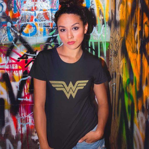 Wonder Woman maglia donna t.shirt nera o oro glitter