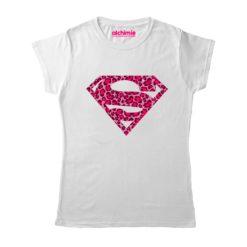 supergirl leopard animalier t-shirt maglia maglietta donna