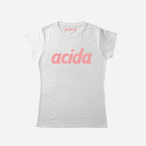 maglia donna acida bianca rosa